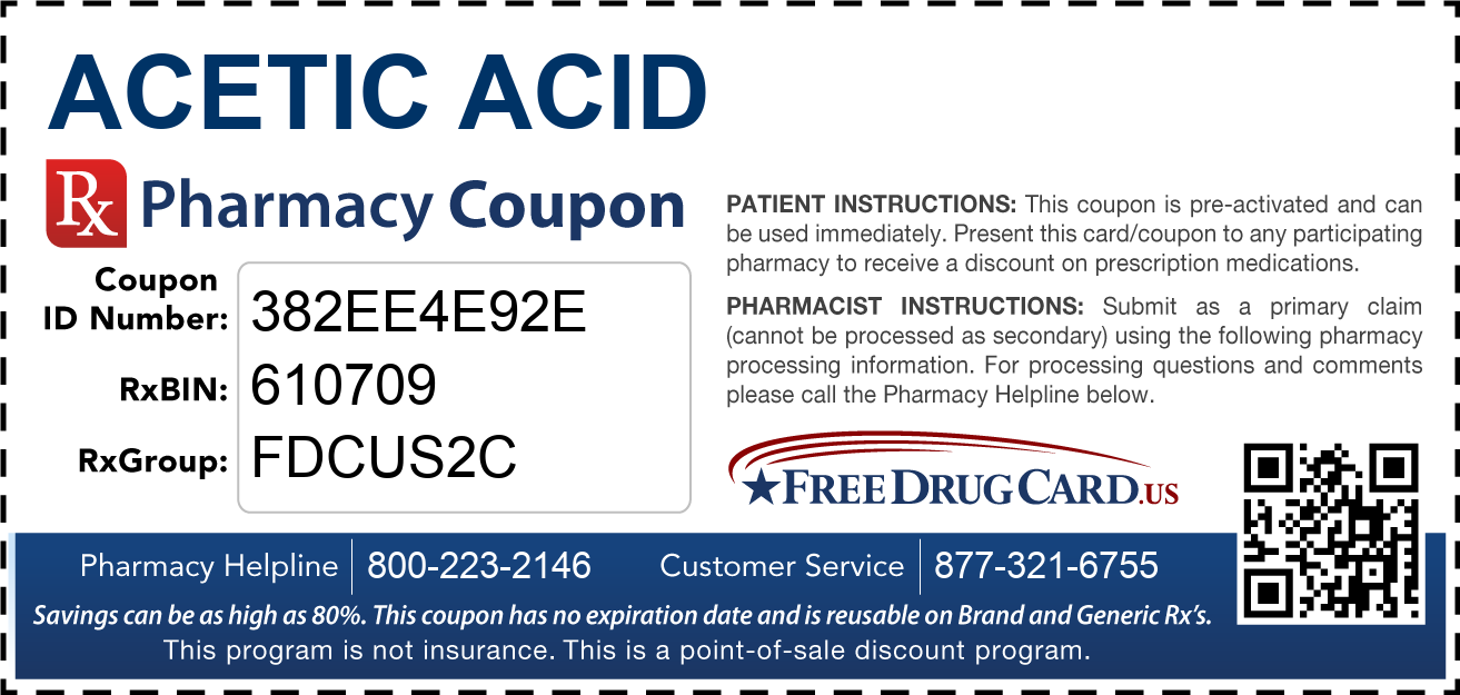 Discount Acetic Acid Pharmacy Drug Coupon