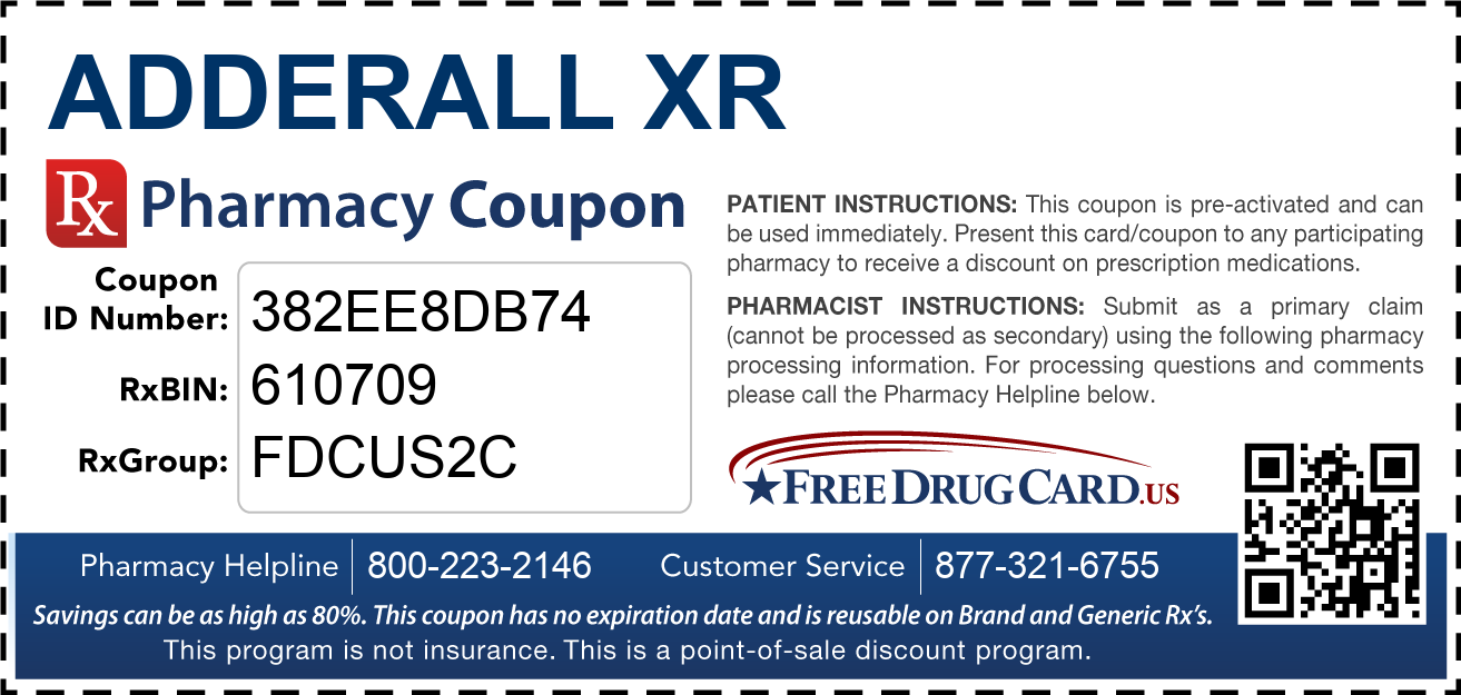 Discount Adderall XR Pharmacy Drug Coupon
