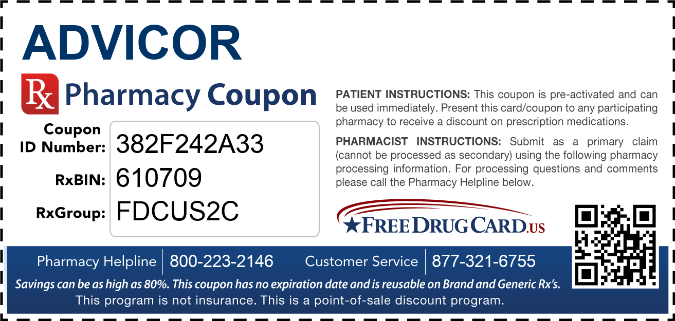 Discount Advicor Pharmacy Drug Coupon