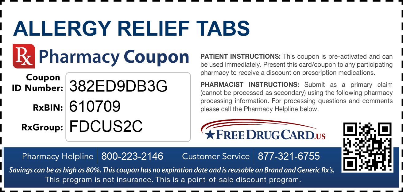 Discount Allergy Relief Tabs Pharmacy Drug Coupon