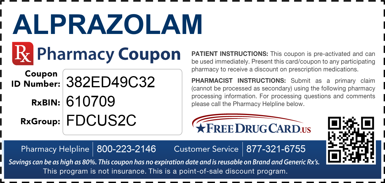 Discount Alprazolam Pharmacy Drug Coupon