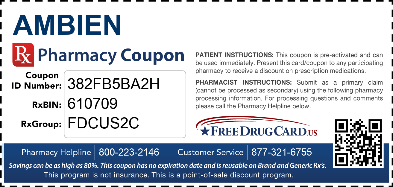 Discount Ambien Pharmacy Drug Coupon