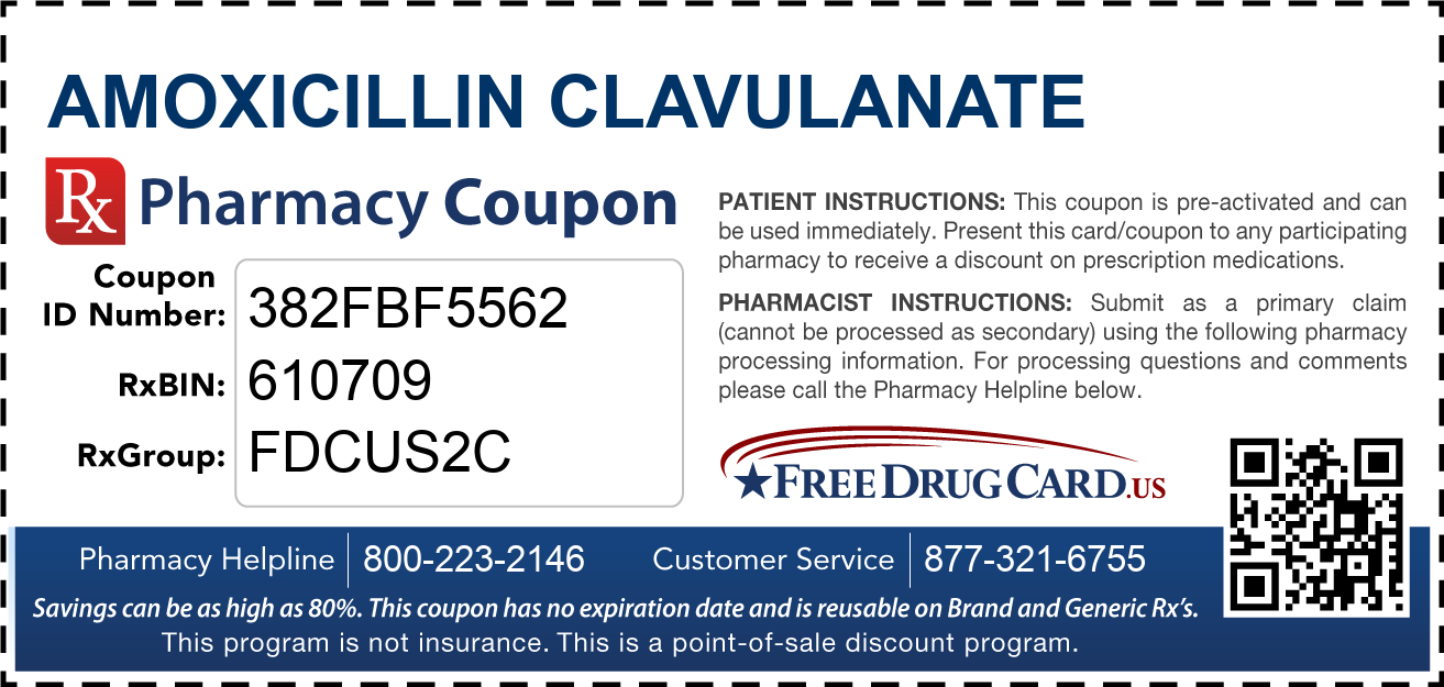 Discount Amoxicillin Clavulanate Pharmacy Drug Coupon