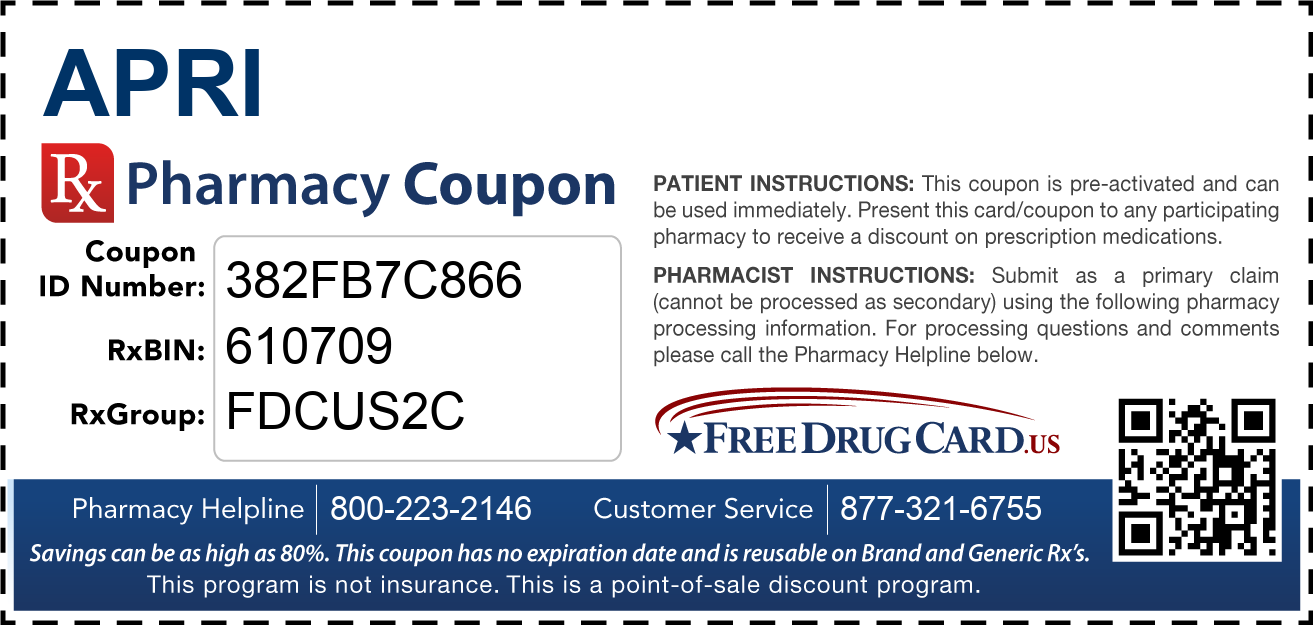 Discount Apri Pharmacy Drug Coupon
