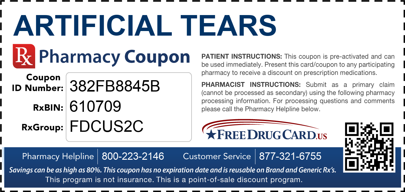 Discount Artificial Tears Pharmacy Drug Coupon