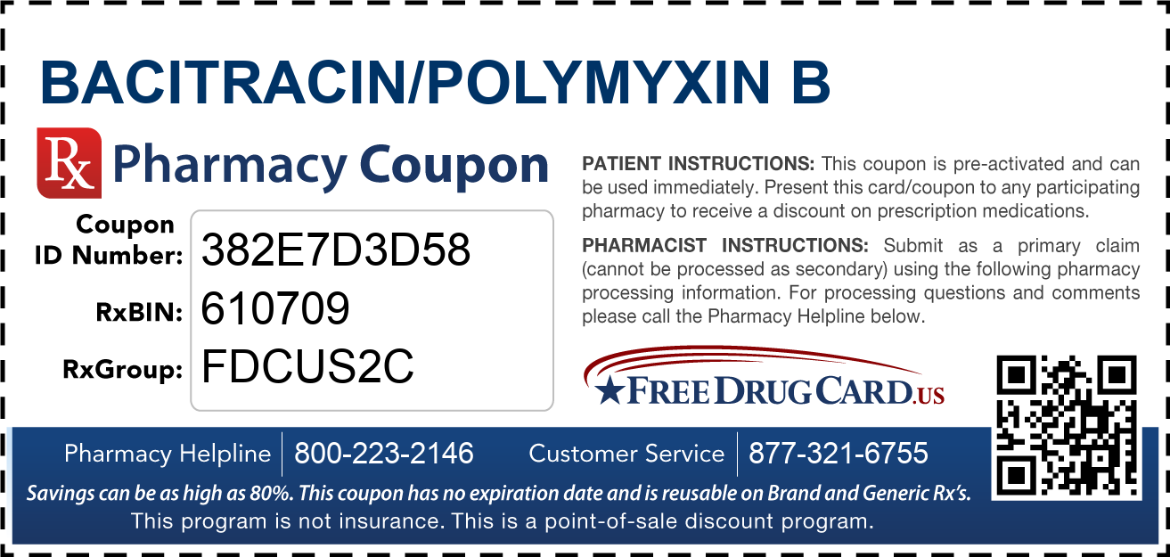 Discount Bacitracin/Polymyxin B Pharmacy Drug Coupon