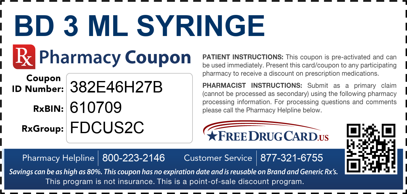 Discount BD 3 ML Syringe Pharmacy Drug Coupon
