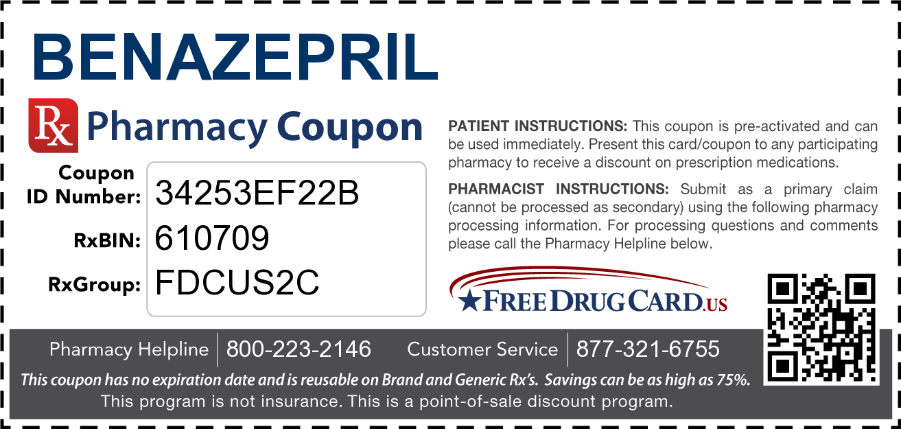 Discount Benazepril Pharmacy Drug Coupon