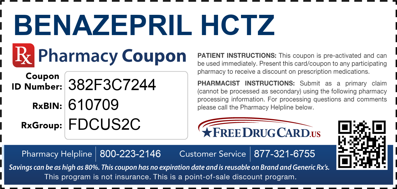 Discount Benazepril HCTZ Pharmacy Drug Coupon