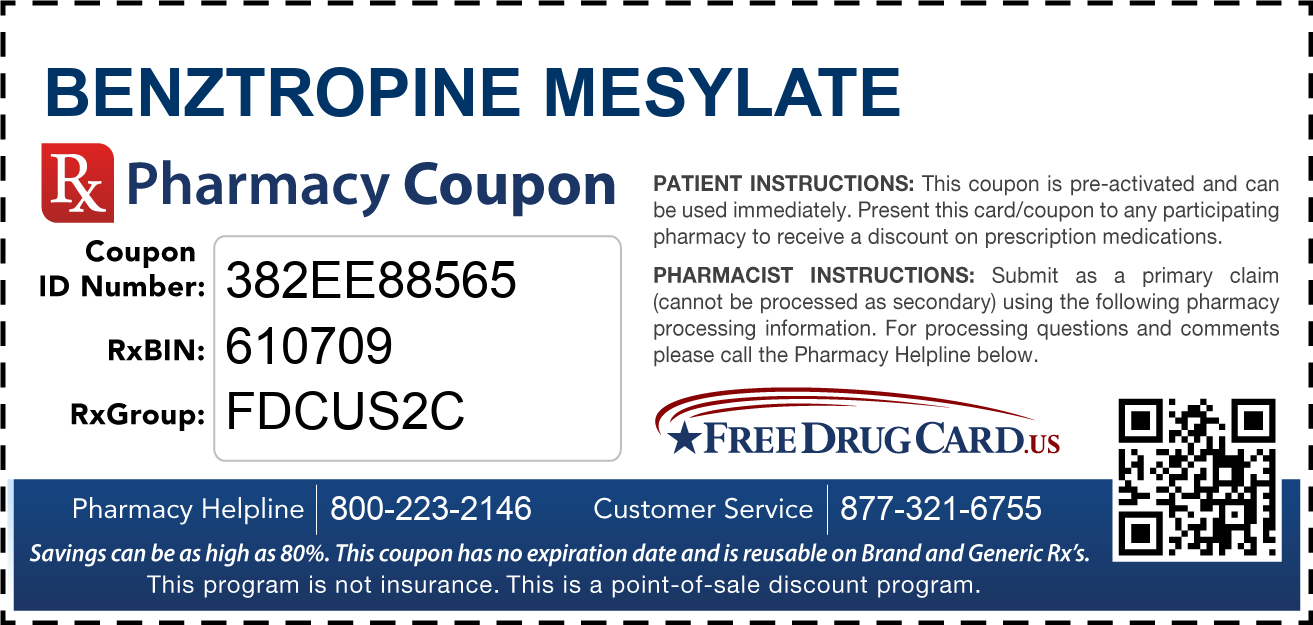 Discount Benztropine Mesylate Pharmacy Drug Coupon