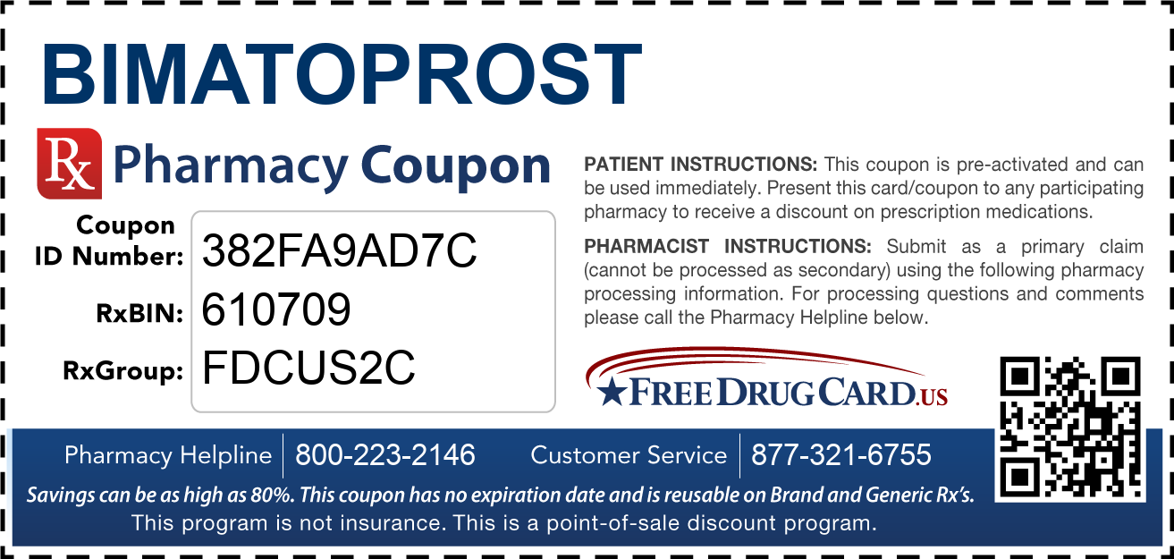 Discount Bimatoprost Pharmacy Drug Coupon