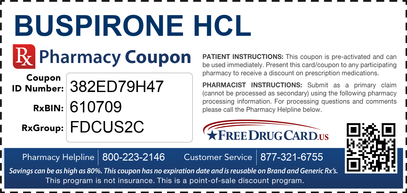 Discount Buspirone HCL Pharmacy Drug Coupon