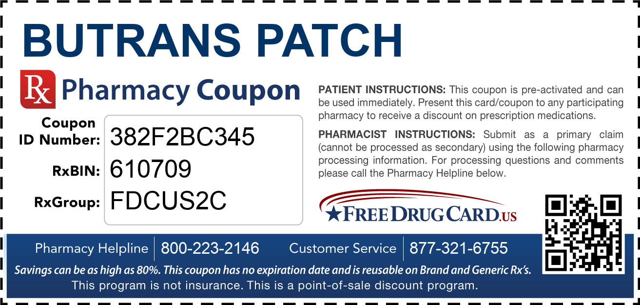 Discount Butrans Patch Pharmacy Drug Coupon