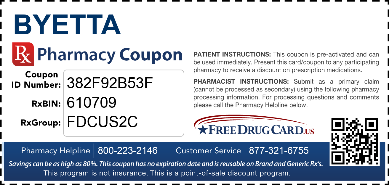 Discount Byetta Pharmacy Drug Coupon