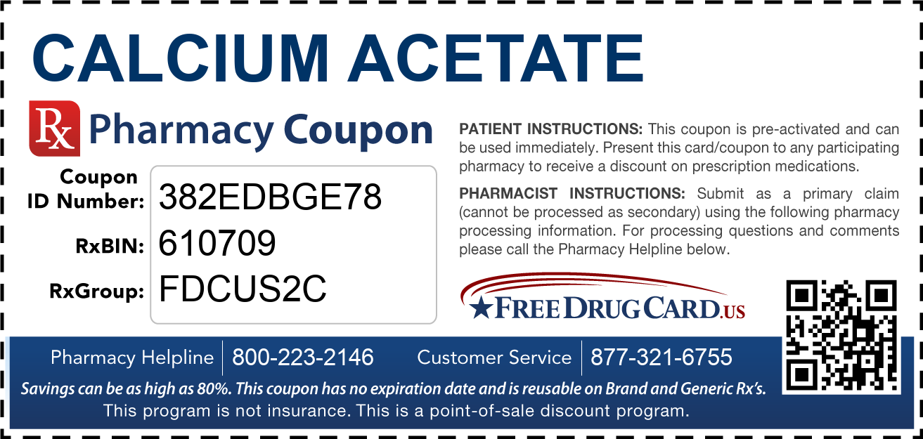 Discount Calcium Acetate Pharmacy Drug Coupon