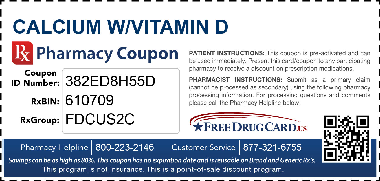 Discount Calcium w/Vitamin D Pharmacy Drug Coupon