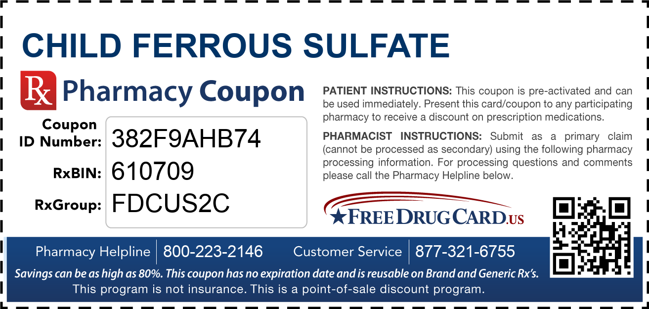 Discount Child Ferrous Sulfate Pharmacy Drug Coupon