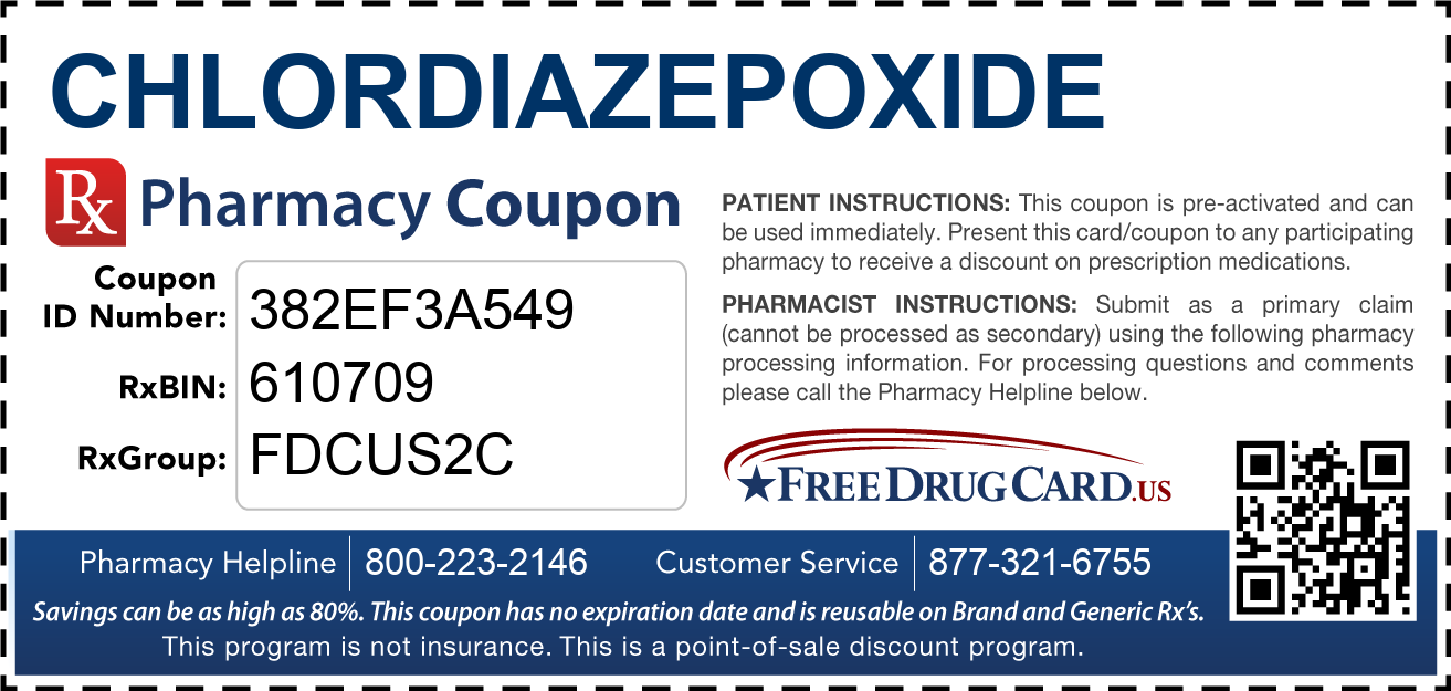Discount Chlordiazepoxide Pharmacy Drug Coupon