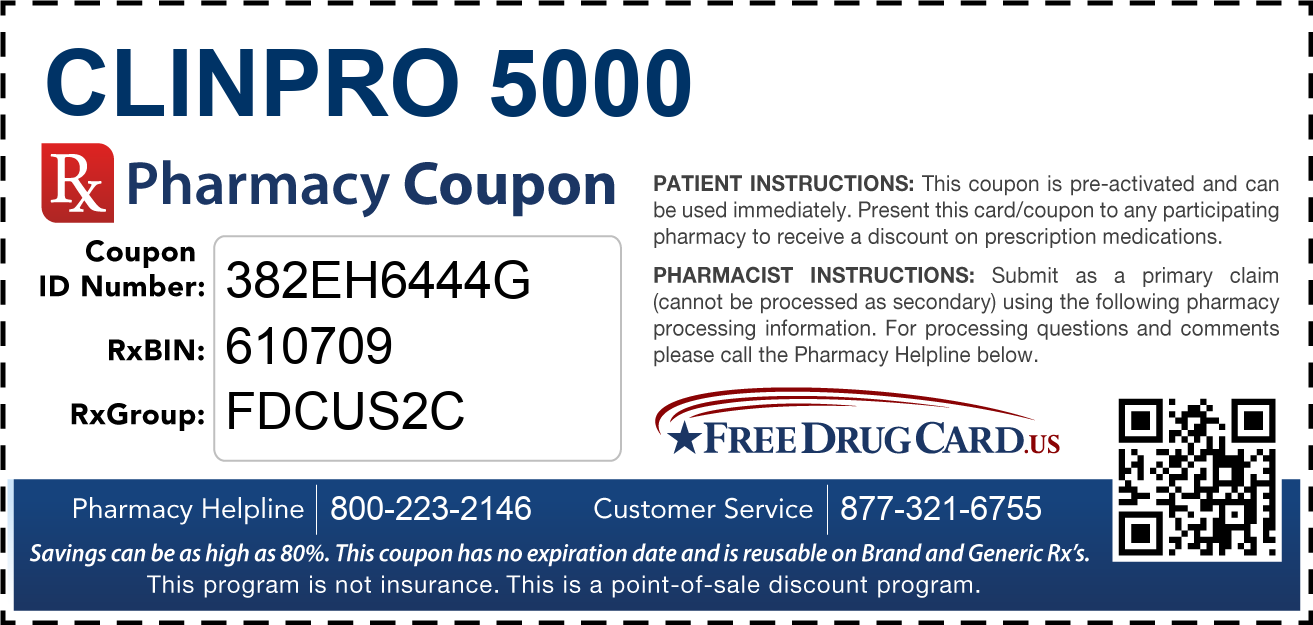 Discount Clinpro 5000 Pharmacy Drug Coupon