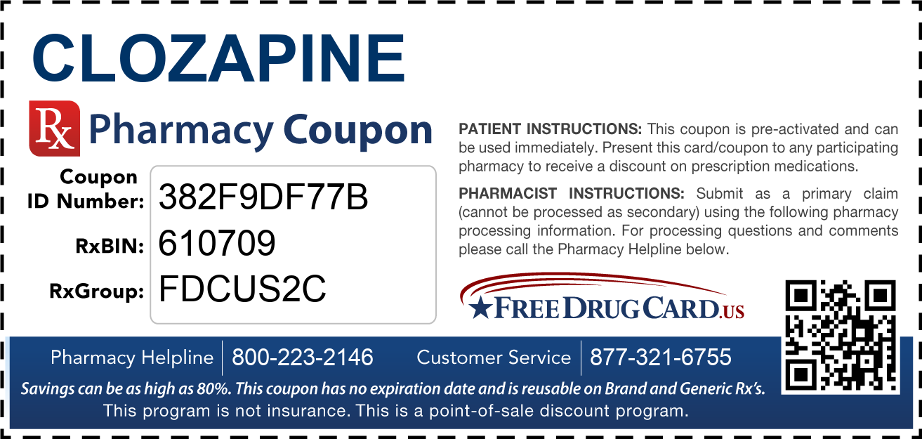 Discount Clozapine Pharmacy Drug Coupon