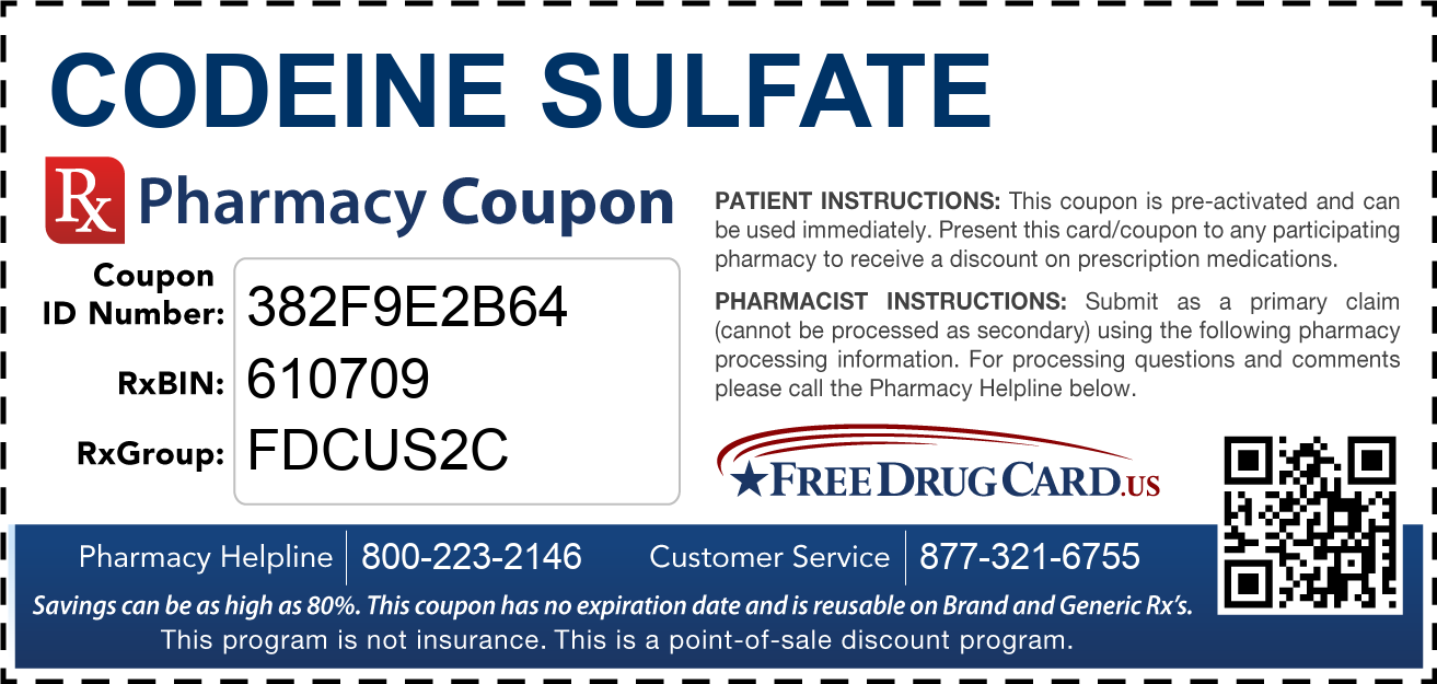 Discount Codeine Sulfate Pharmacy Drug Coupon