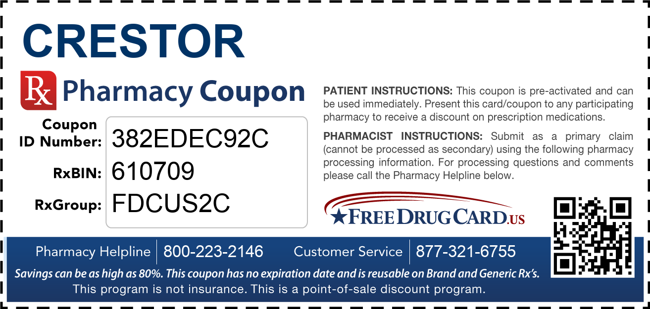 Discount Crestor Pharmacy Drug Coupon