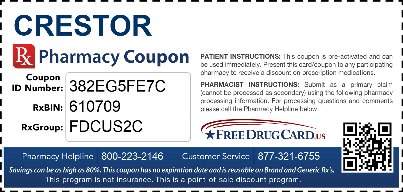 Discount coupon for crestor