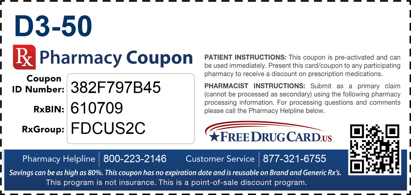 Discount D3-50 Pharmacy Drug Coupon