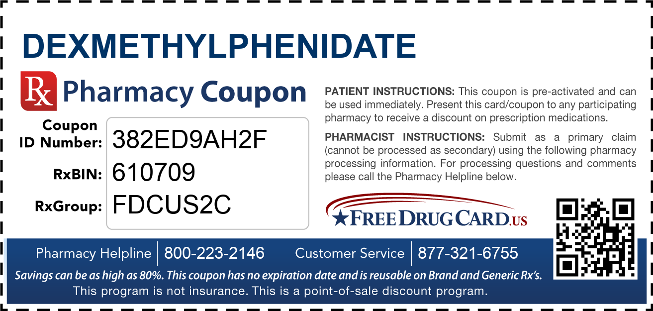 Discount Dexmethylphenidate Pharmacy Drug Coupon