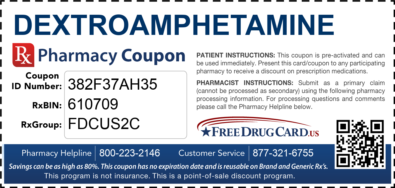 Discount Dextroamphetamine Pharmacy Drug Coupon