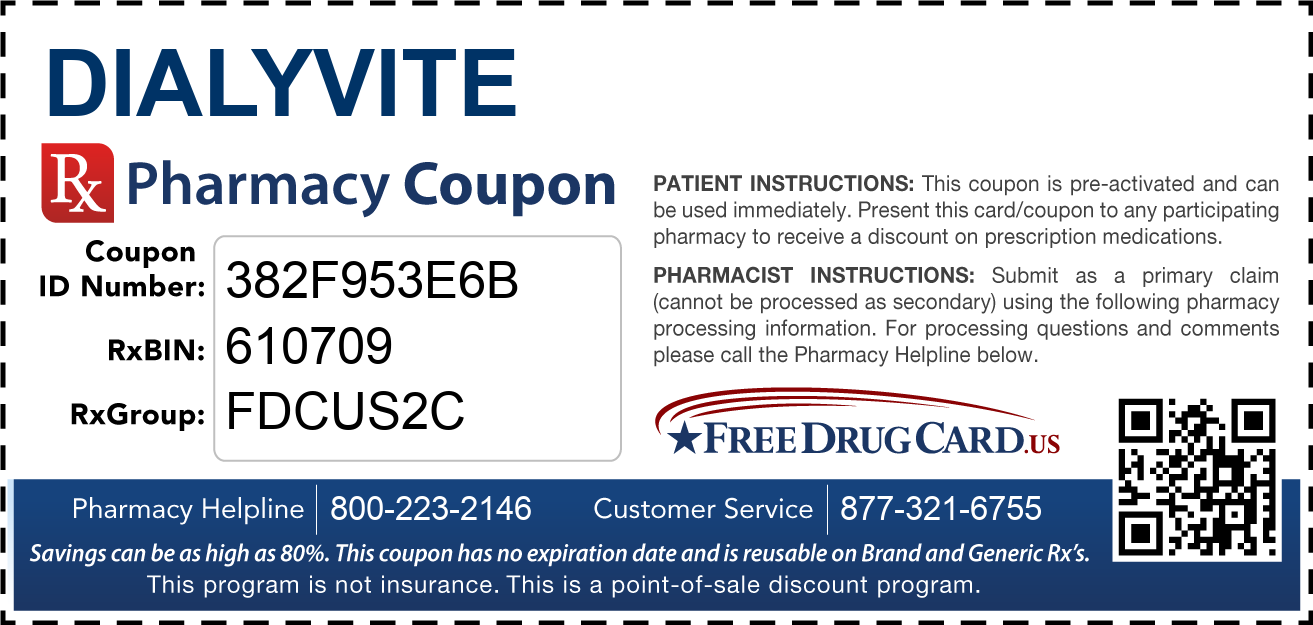 Discount Dialyvite Pharmacy Drug Coupon