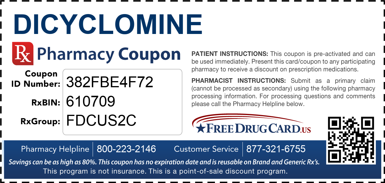 Discount Dicyclomine Pharmacy Drug Coupon
