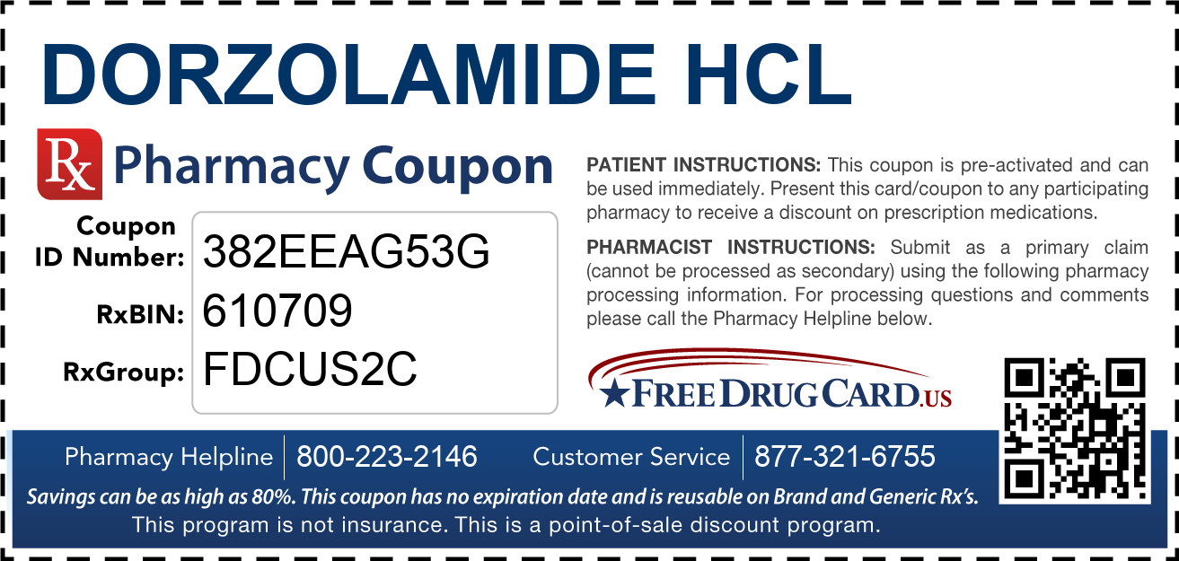 Discount Dorzolamide HCL Pharmacy Drug Coupon