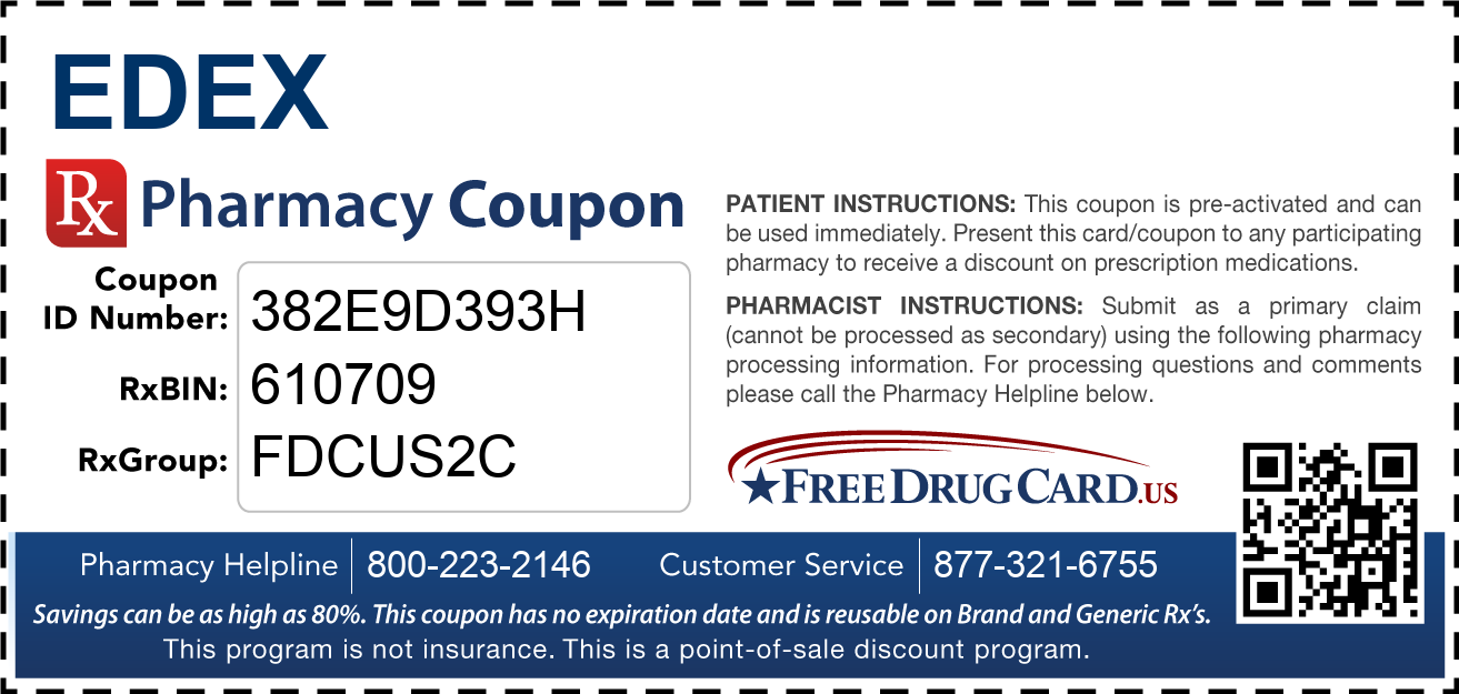Discount Edex Pharmacy Drug Coupon