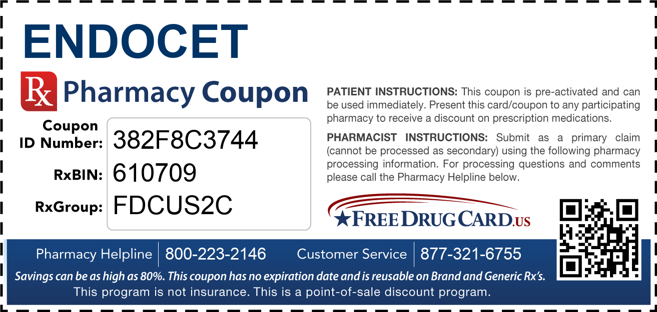 Discount Endocet Pharmacy Drug Coupon