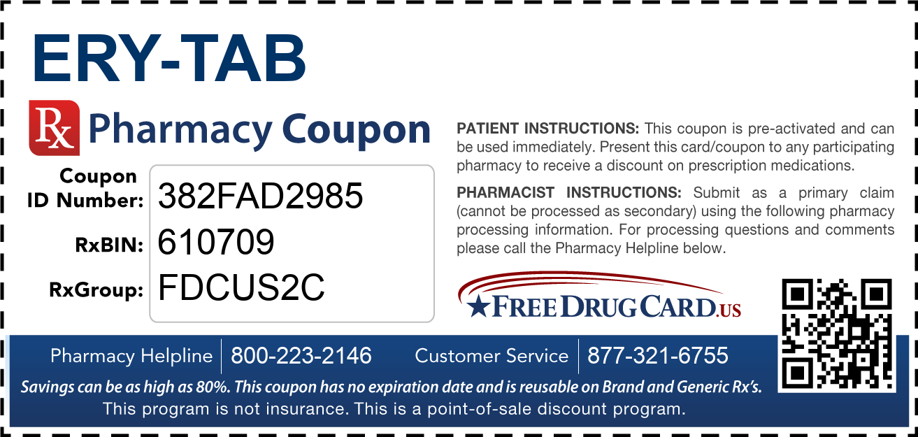 Discount Ery-Tab Pharmacy Drug Coupon