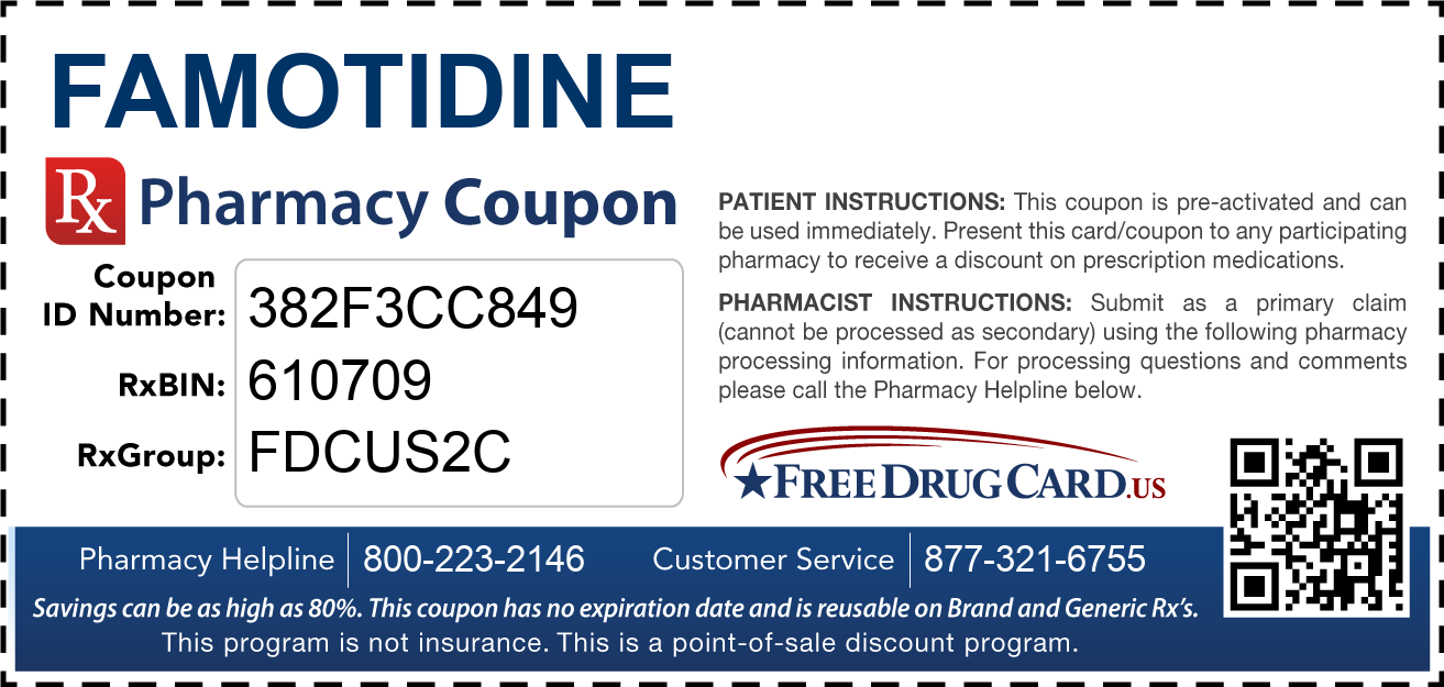 Discount Famotidine Pharmacy Drug Coupon
