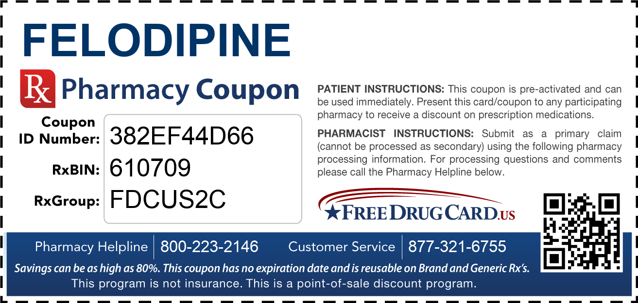 Discount Felodipine Pharmacy Drug Coupon