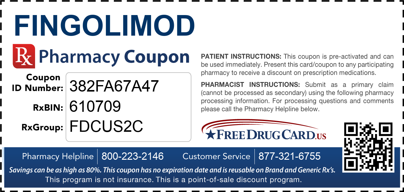 Discount Fingolimod Pharmacy Drug Coupon