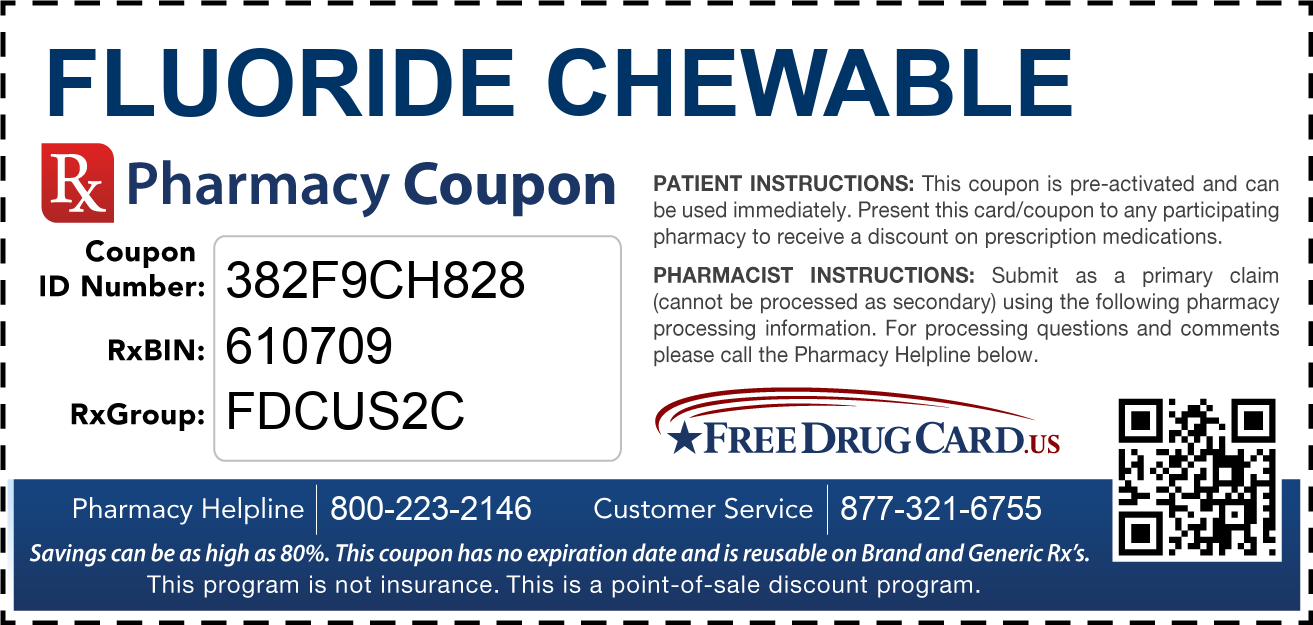 Discount Fluoride Chewable Pharmacy Drug Coupon