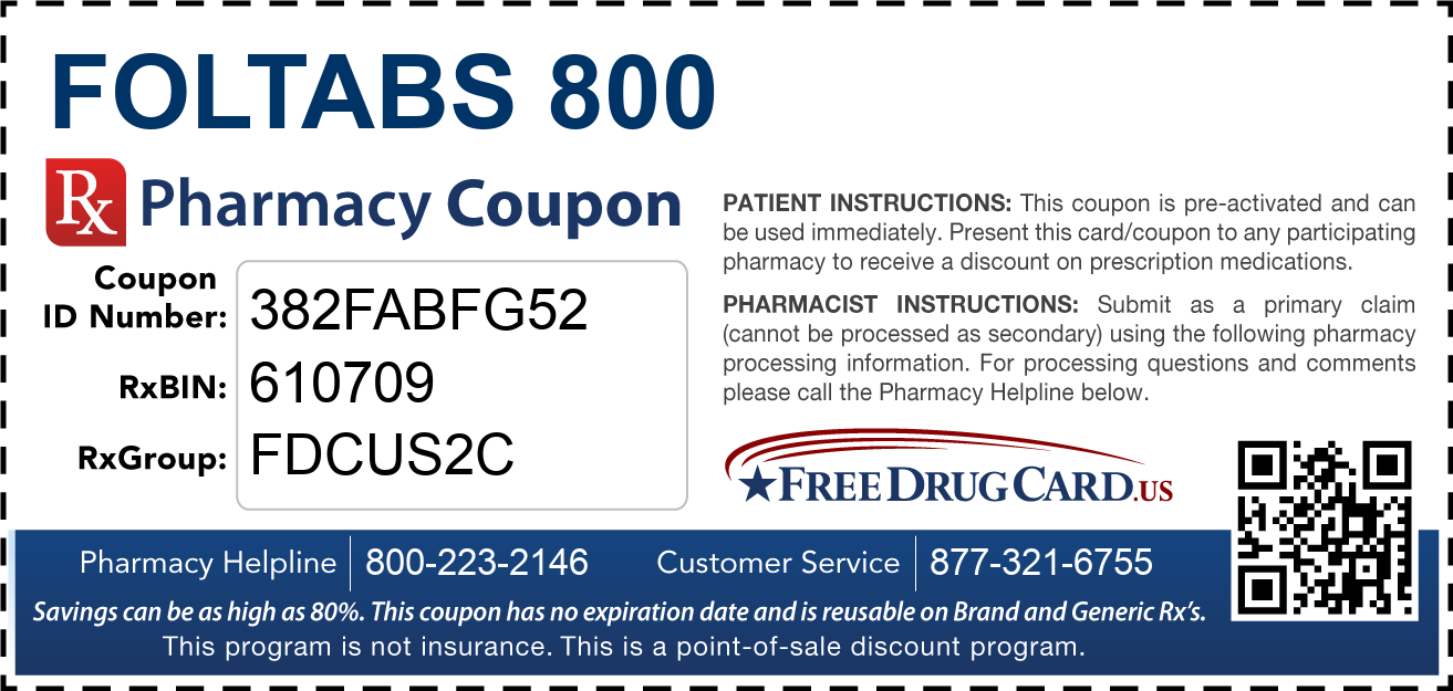 Discount Foltabs 800 Pharmacy Drug Coupon