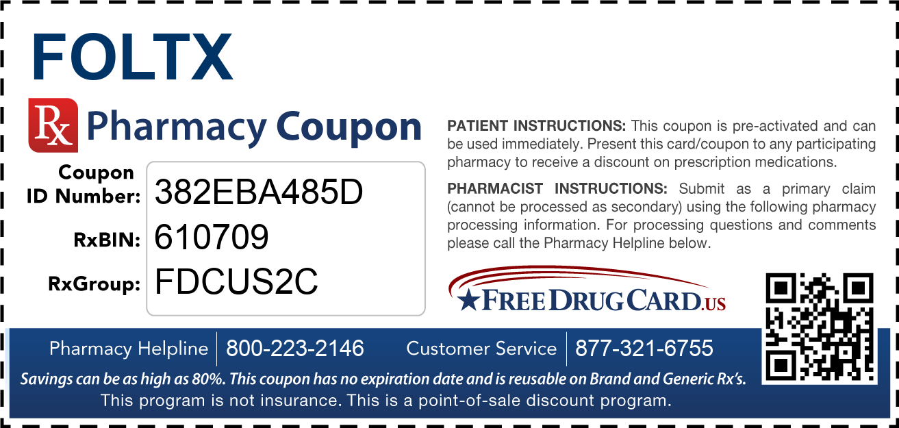 Discount Foltx Pharmacy Drug Coupon
