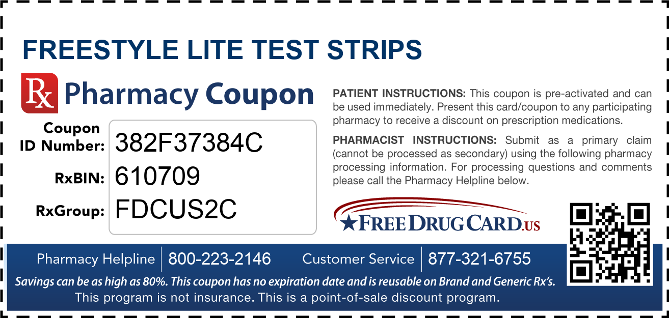 Freestyle lite test strips coupon free prescription savings at discount freestyle lite test strips pharmacy drug coupon mozeypictures Gallery