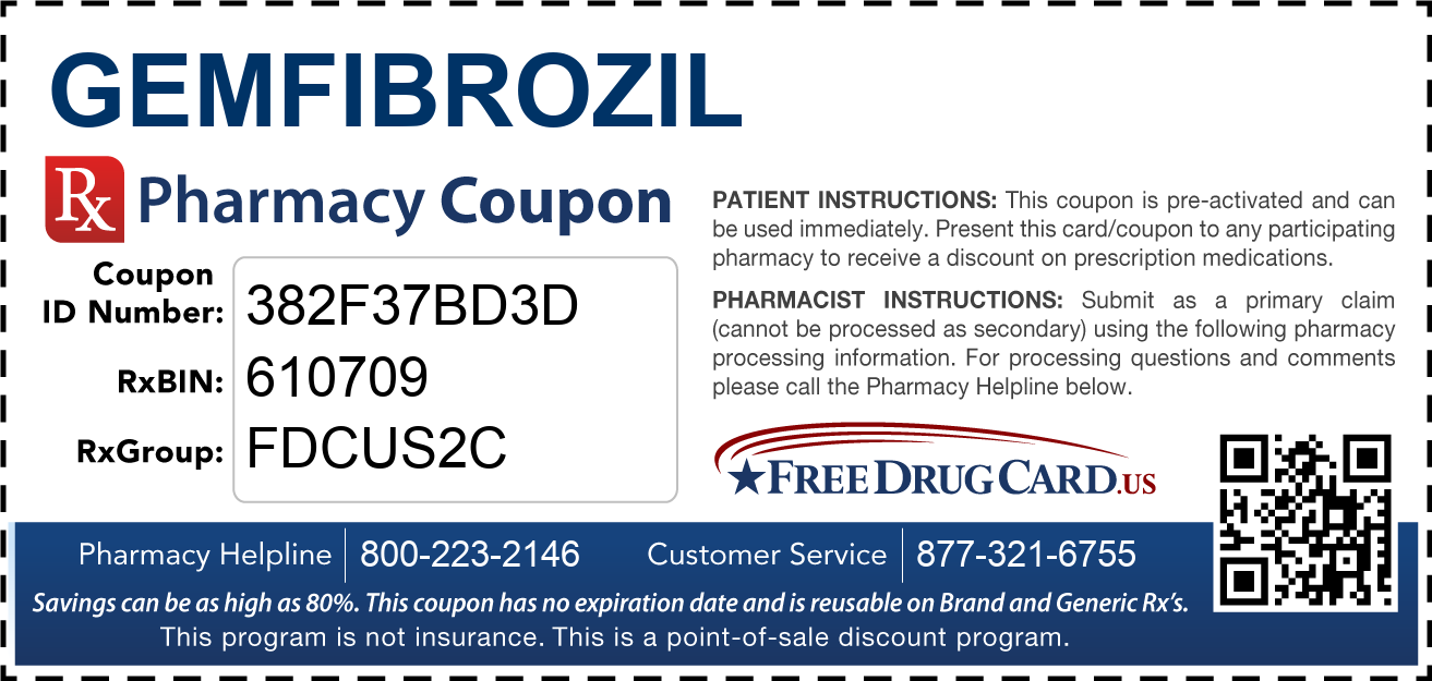 Discount Gemfibrozil Pharmacy Drug Coupon