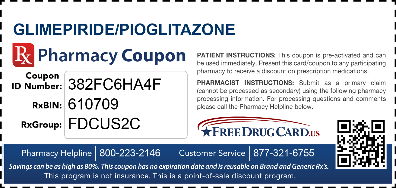 Discount Glimepiride/Pioglitazone Pharmacy Drug Coupon