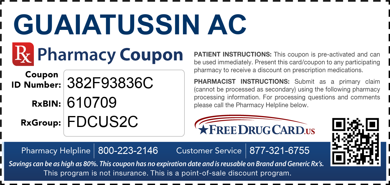 Discount Guaiatussin AC Pharmacy Drug Coupon