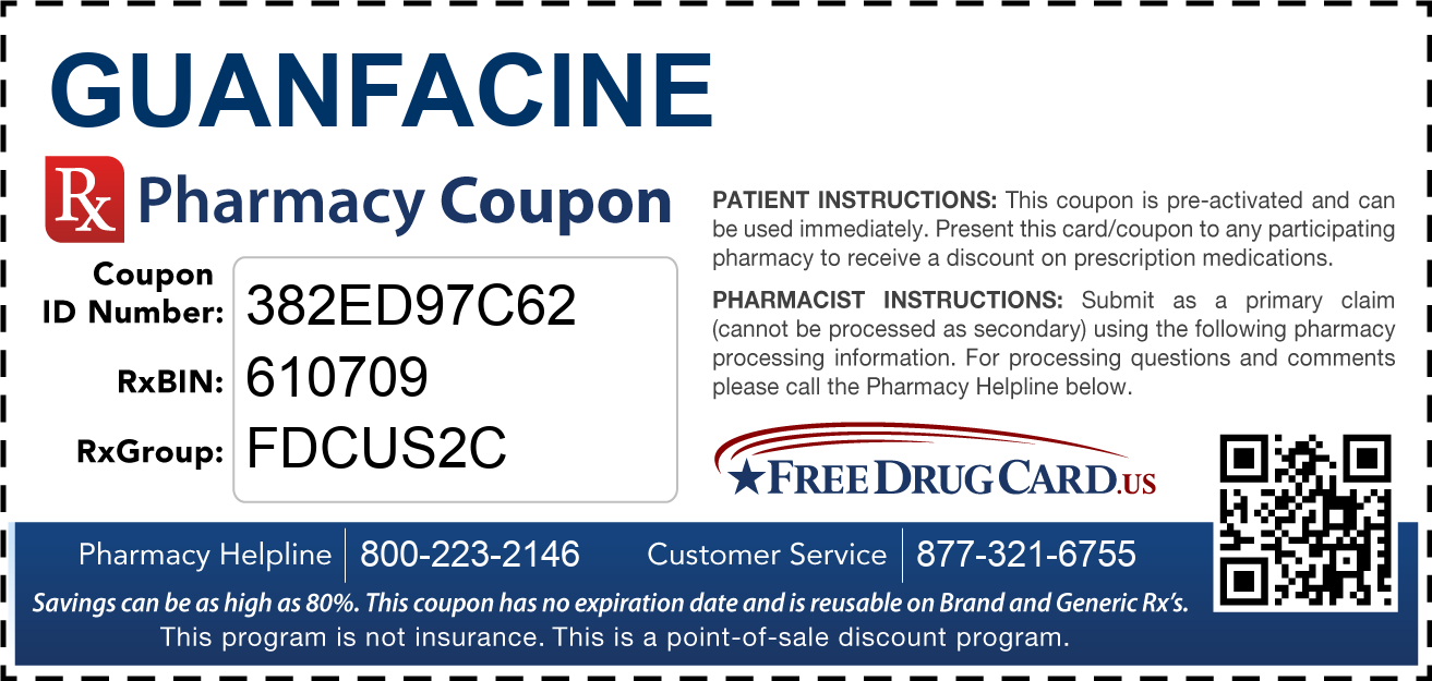 Discount Guanfacine Pharmacy Drug Coupon