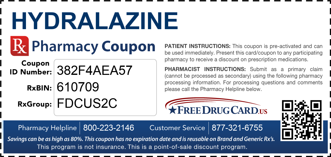 Discount Hydralazine Pharmacy Drug Coupon