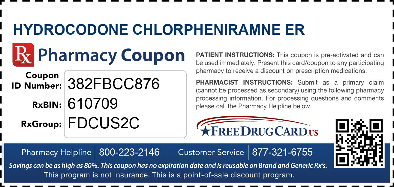Discount Hydrocodone Chlorpheniramne ER Pharmacy Drug Coupon