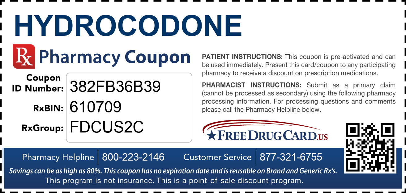 Cvs Pharmacy Coupons >> Hydrocodone Coupon - Free Prescription Savings at Pharmacies Nationwide